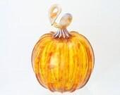 Pumpkin Decor Hand Blown Glass Golden Honey Gold Amber Glass Holiday Decor Table Centerpiece