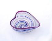 Heart Bowl Hand Blown Glass Venetian Style Purple Multi Color Mod Art tagt - AvolieGlass