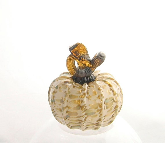 Blown Glass Pumpkin Earth Tones Beige Peach Olive Green - Autumn Harvest Decor