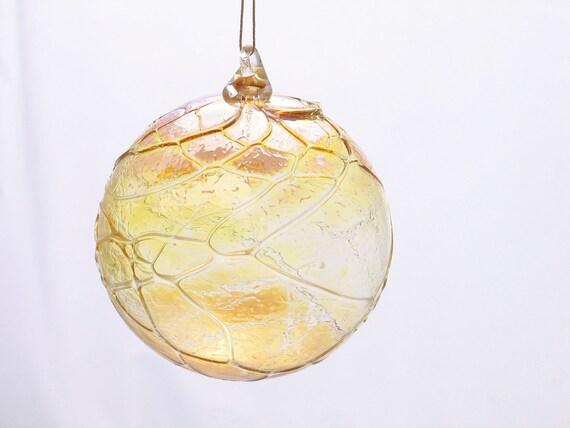Glass Christmas Ornament Suncatcher - Gold Luster - Golden Glass Ball - Christmas ornament luxury - under 25