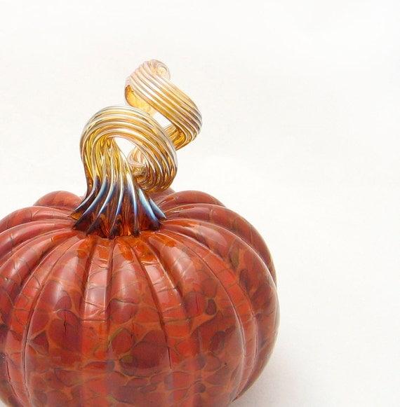Blown Glass Pumpkin - brown brick red gold - centerpiece - entertaining harvest fall decor - luxury by Avolie Glass