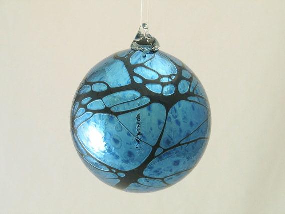 Iridescent Ornament Suncatcher - Shiny Blown Glass Ball - Deep Metallic Silver Midnight Blue - Christmas gift for dad coworker hostess