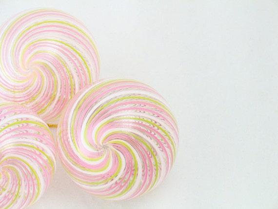 Glass Ball Ornament Suncatcher - Venetian Style Pink White Sage Green Stripes - Christmas Tree Decoration - handmade luxury