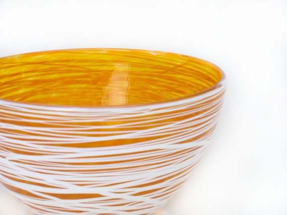 Blown Glass Bowl - Serving Bowl Golden Wrap - Entertaining Kitchen Art Table tabletop warm autumn fall colors