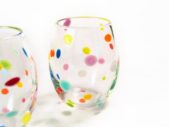 RESERVED FOR MALCOM Retro Tumblers Hand Blown Glass Colorful Polka Dots Juice Glasses