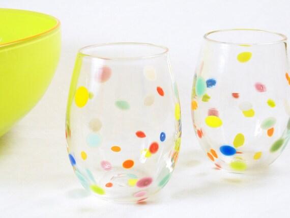 Blown Glass Tumbler Set - Po' Dot Series - Retro Polka Dot Design - Spring Celebration Entertaining Party Fun Whimsical by Avolie Glass oht