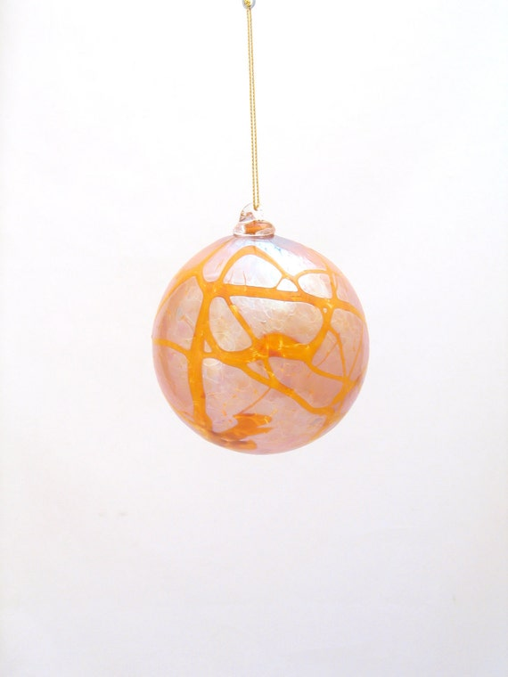 Iridescent Ornament Suncatcher - Shiny Blown Glass Ball - Warm Golden Silver - Christmas gift for mom coworker hostess