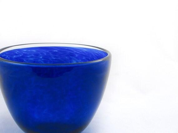 Blown Glass Bowl - Cobalt Blue Glass - Entertaining Kitchen Art Table tabletop colorful bright- dreamt oht ateam teamcamelot