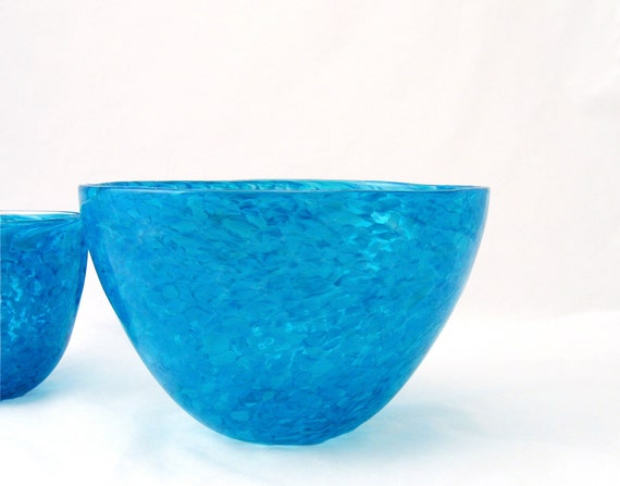 Blown Glass Bowl Large Fruit Bowl - Caribbean Sea Blue - Entertaining Kitchen Art Table Centerpiece - aqua teal turquoise Gifts for Mom tagt