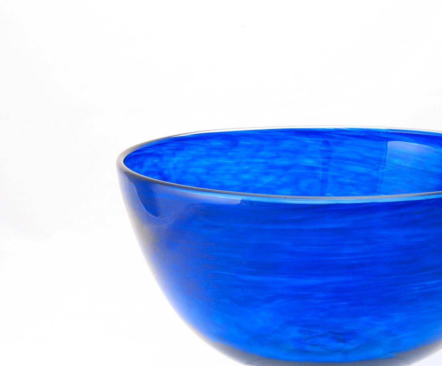 Blown Glass Bowl Cobalt Blue Glass Entertaining Kitchen