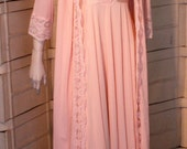 hold for magicmys Vintage OLGA apricot pink Peignoir Set