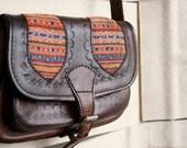 70s Hand tooled leather and kilim shoulder bag