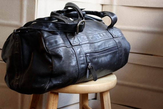 Super 70's patina Black Leather Duffle
