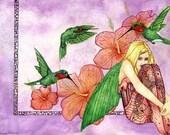 Art pink hummingbird fairy artwork print-