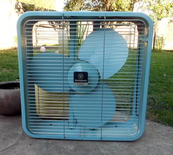 vintage blue box fan. Black Bedroom Furniture Sets. Home Design Ideas