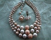 Vintage Satin Bead 3-Strand Necklace with Earrings