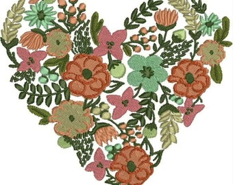 Heart of Flowers Machine Embroidery Design