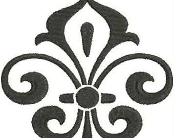 Damask, Fleur de Lis, Fleur de Lis, Embroidery Design, Mardi Gras, Fleur de Lis, Embroidery Design, Swirl, Curly