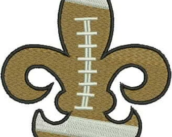 Football, Fleur de Lis, Embroidery Design, Machine Embroidery