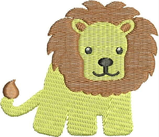 Lion embroidery design baby animal cute infant machine