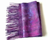 Soft wool and silk felted scarf with fringe  Purple shade  wrap shawl merino felt unisex scarves
