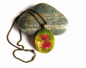 Felt Pendant Necklace with Poppy field spring