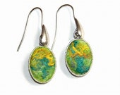 Felt Earrings Lemon merino wool  green yellow silk Sterling Silver OOAK