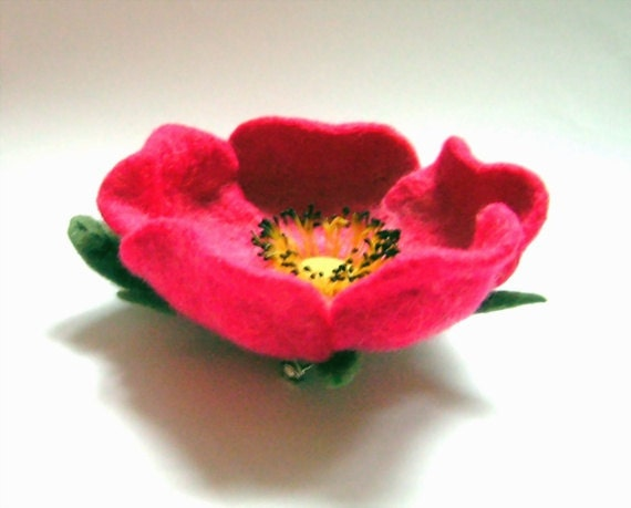 Felted Rose Flower Brooch  -  Wild rose
