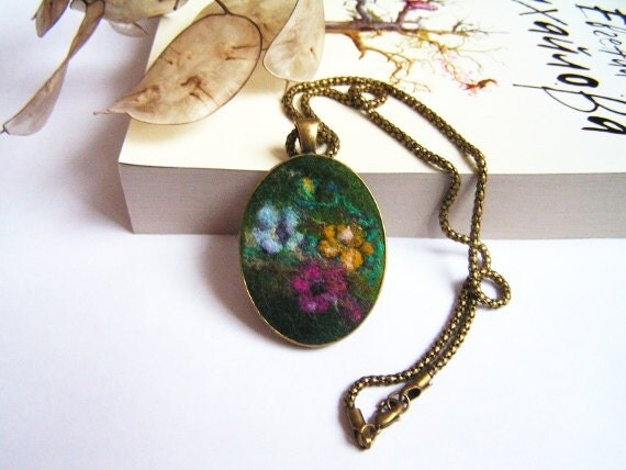 Felt Pendant Necklace  Magic Garden