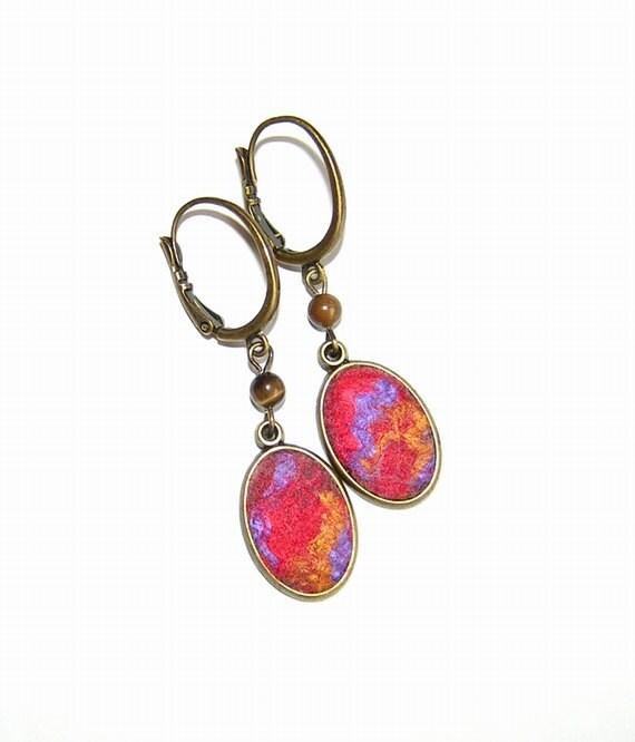 Felt Earrings Flamenco  merino wool  purple gold  red silk OOAK