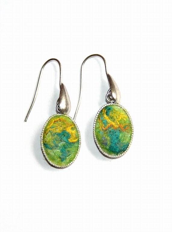 Felt Earrings Lemon merino wool  green yellow silk Sterling Silver OOAK