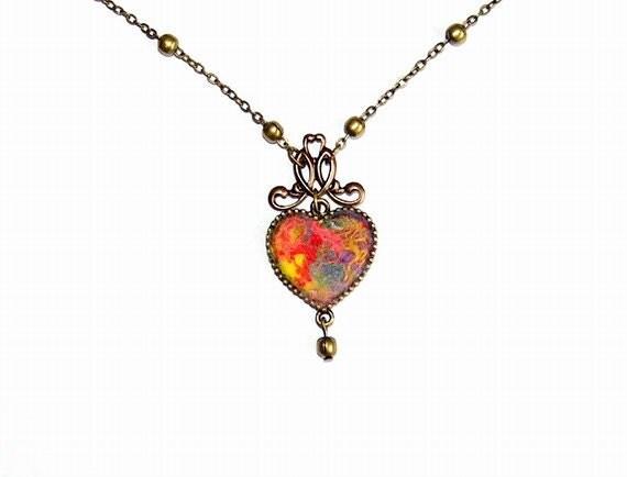 Felt Necklace Pendant Heart
