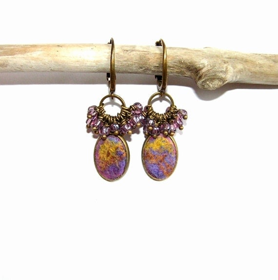 Felt Earrings merino wool purple yellow gold  silk OOAK