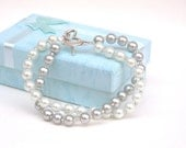 Bracelet, Pearls, seed beads, soft blue, gray, silver, heart, romantic, chic, soft, spring, summer, accessories, for her