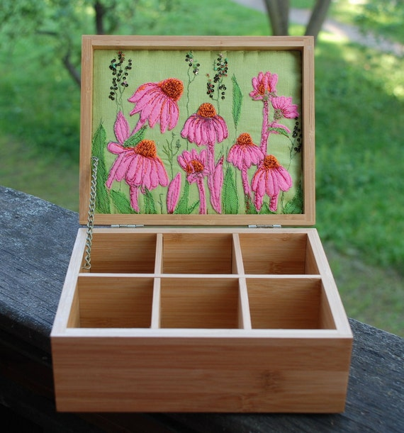 Oak tea box with echinacea purpurea embroidery