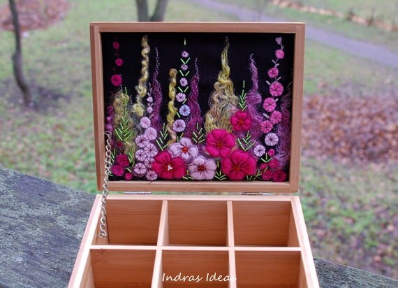 Tea box with pink flower meadow embroidery