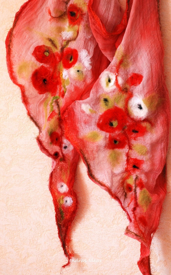 Soft and airy scarf with red flower
