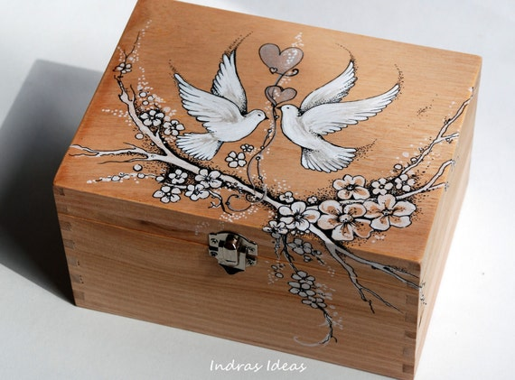 Romantic pigeons hand-painted recipe cards box 7.7 x 5.7