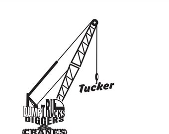 Cranes Dump Trucks & Diggers Personalized Wall Decal