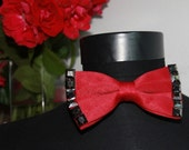 sale valentine,red Bow tie with rectangular on  trimming buttons