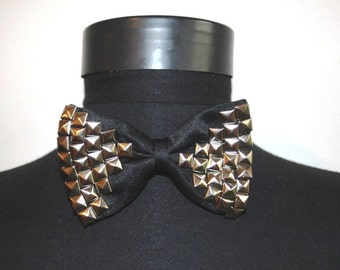 Studded Black Bow tie Rock Punk Steampunk Goth