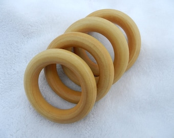 FOUR Teething Rings - Organic Olive Oil and Beeswax Finished Birch Wood Teething Rings