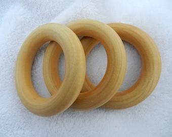 THREE Teething Rings - Birch Wood choose your finish