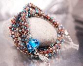 Turquoise and Brown Triple Wrap Bracelet Kumihimo braided lampwork handmade by Ema K sra ooak