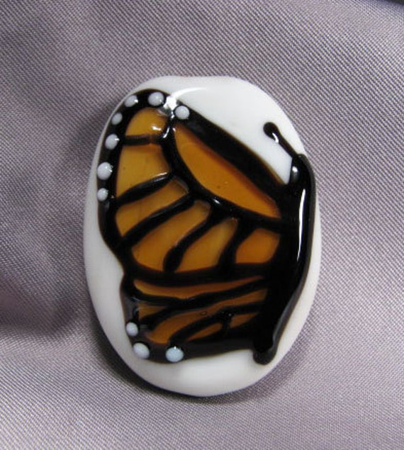 Monarch Butterfly focal lampwork bead by Ema K Designs SRA
