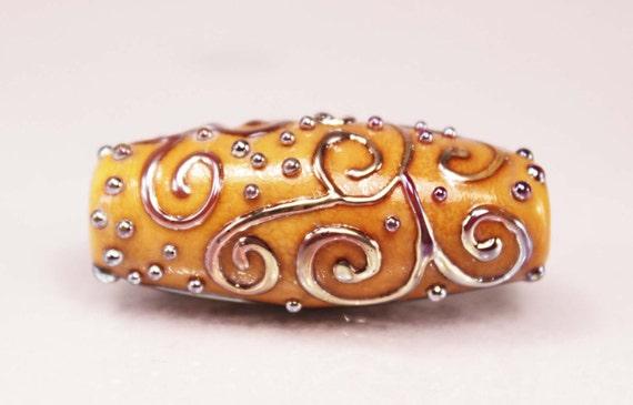 Scroll Designs handmade lampwork focal bead by Ema K SRA OOAK