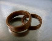 Wood Wedding Bands, Walnut Bent Wood Ring Set