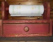 Primitive Rustic Wooden Paper Towel Holder