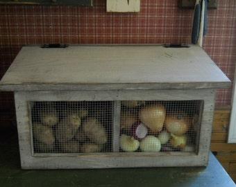 Primitive Rustic Potato and Onion Bin