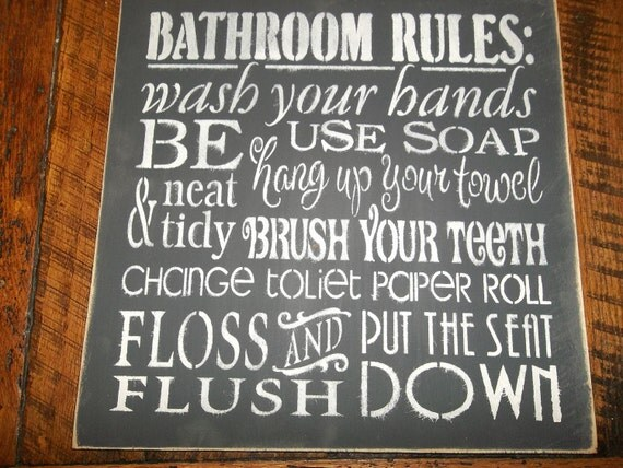 Primitive Rustic Farmhouse Bathroom Sign